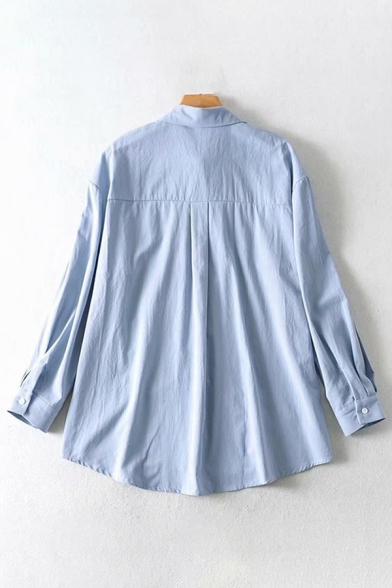Basic Girls Long Sleeve Lapel Collar Floral Embroidered Loose Fit Shirt