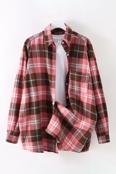Classic Womens Long Sleeve Lapel Collar Button Down Checkered Printed Loose Shirt