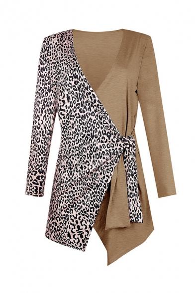 Elegant Stylish Ladies' Long Sleeve Surplice Neck Bow Tie Waist Leopard Printed Colorblock Slim Fit Wrap Cardigan