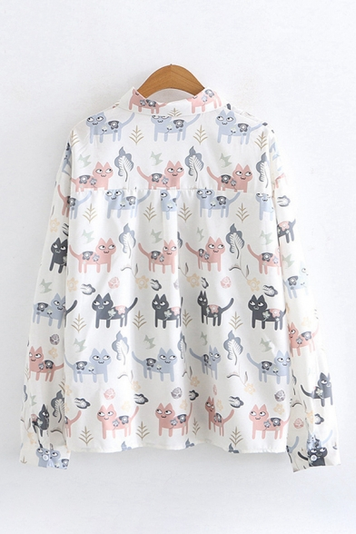 Funny Fashion Girls Long Sleeve Lapel Neck Button Down All-Over Cat Printed Loose Shirt in White
