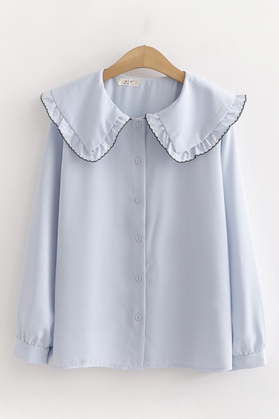 Girls' Fancy Cute Long Sleeve Peter Pan Collar Stringy Selvedge Button Front Contrast Piped Loose Shirt