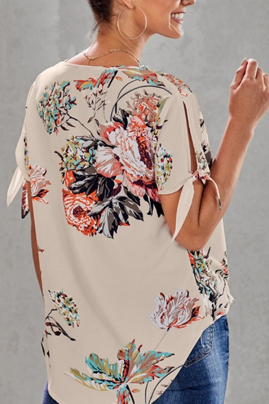 Gorgeous Ladies' Tied Sleeve Surplice Neck Floral Patterned Relaxed Wrap Top