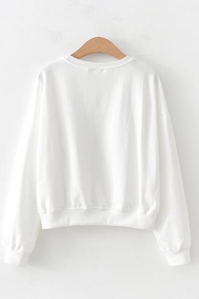 Korean Girls Long Sleeve Round Neck Letter AVOCADO GREEN NATURAL Graphic Loose Pullover Sweatshirt
