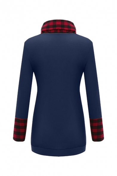 Leisure Women's Long Sleeve Cowl Neck Plaid Patterned Panel Pockets Side Longline Fitted T Shirt