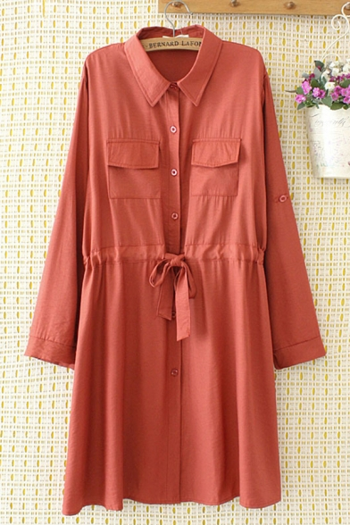 Leisure Womens Long Sleeve Lapel Collar Button Down Drawstring Waist Flap Pocket Plain Maxi Swing Shirt Dress