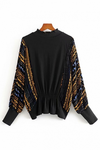 Stylish Ladies Long Sleeve Mock Neck Floral Patterned Drawstring Stringy Selvedge Pleuche Relaxed Fit T-Shirt in Black