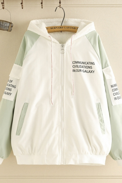 Winter Thick Long Sleeve Zipper Down Letter COMMUICATING Flap Pockets Color Block Loose Fit Sherpa Lined Jacket for Women