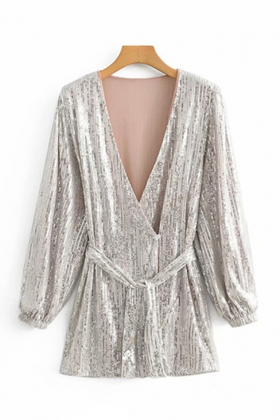 Amazing Bling Bling Womens Long Sleeve Surplice Neck Tied Waist Sequins Mini A-Line Silver Dress for Party