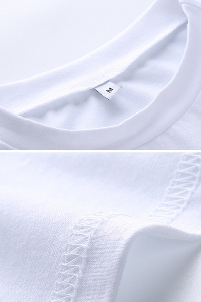 Basic Girls Short Sleeve Round Neck Relaxed Fit Cropped T Shirt in White