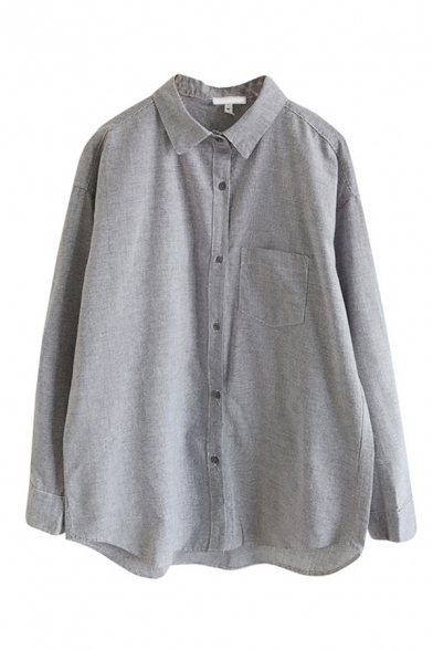 Casual Basic Long Sleeve Lapel Neck Button Down Checkered Printed Pocket Long Oversize Shirt