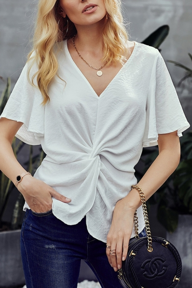 Casual Stylish Female Short Sleeve V-Neck Twist Front Plain Fitted Tee