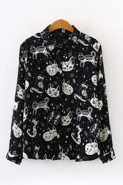 Chic Women's Long Sleeve Lapel Neck Button Front All Over Cartoon Cat Print Loose Shirt