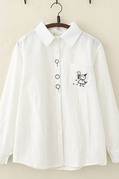 Classic Lovely Ladies Long Sleeve Lapel Collar Cartoon Heart Embroidered Button Down Loose Shirt in White