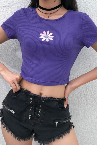 Club Girls Short Sleeve Round Neck Floral Printed Knitted Crop Fit T Shirt in Purple