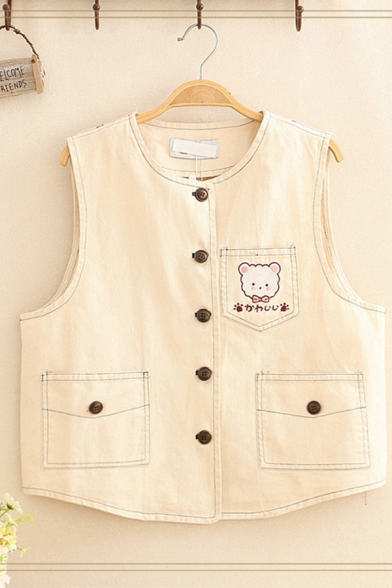 Cute Girls' Sleeveless Round Neck Button Down Bear Embroidery Relaxed Cropped Vest