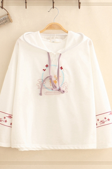 Cute Pretty Girls' Long Sleeve Drawstring Floral Deer Embroidery Relaxed Fit Hoodie
