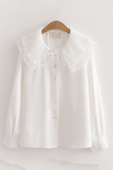 Fancy Girls Long Sleeve Peter Pan Collar Bow Tie Button Down Plain Relaxed Fit Blouse Top