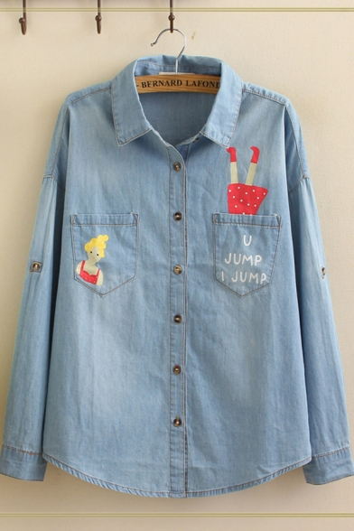 Funny Letter U JUMP I JUMP Cartoon Print Button Front Pockets Panel Curved Hem Loose Denim Shirt in Light Blue
