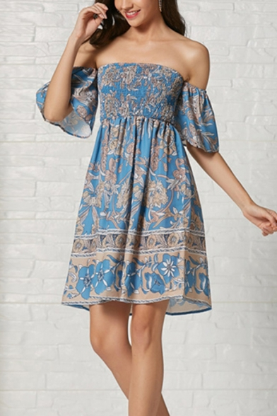 Gorgeous Ladies' Blue Short Sleeve Off the Shoulder All-Over Flower Pattern Ruched Midi A-Line Dress