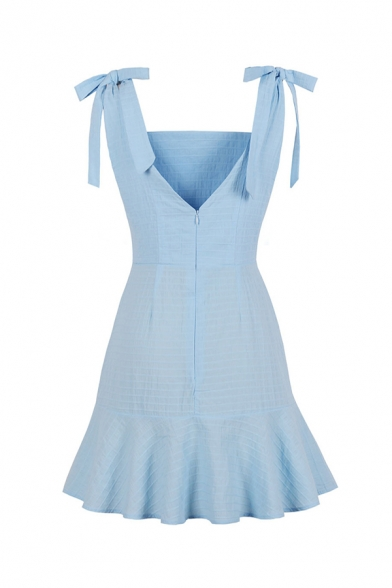 Lovely Girls' Sleeveless Plain Bow Tie Shoulder Zipper Back Midi Pleated A-Line Cami Dress