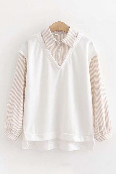 Popular Street Long Sleeve Lapel Collar Button Down Stripe Patterned Relaxed Shirt with Tank Top