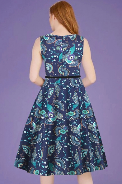 Pretty Fashion Ladies Sleeveless Round Neck All Over Flower Printed Long Pleated A-Line Dress