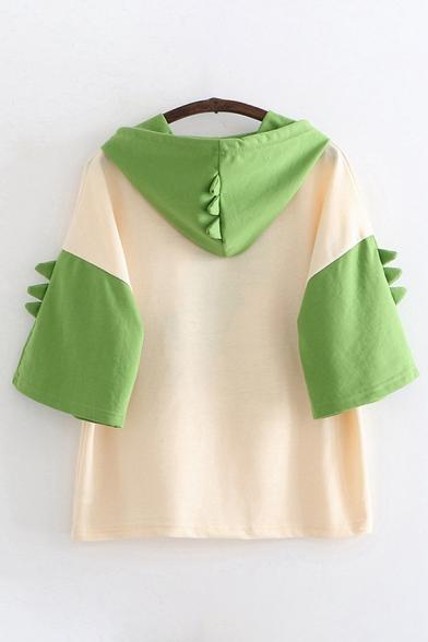 Pretty Girls Green Short Sleeve Drawstring Japanese Letter Dinosaur Graphic Colorblock Loose Hoodie