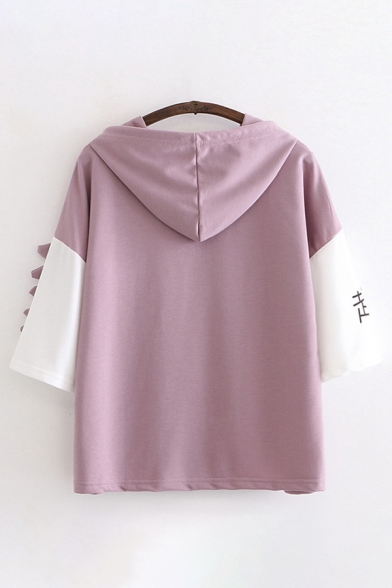 Trendy Girls Short Sleeve Drawstring Chinese Letter Dinosaur Graphic Contrasted Relaxed Hoodie with Pocket