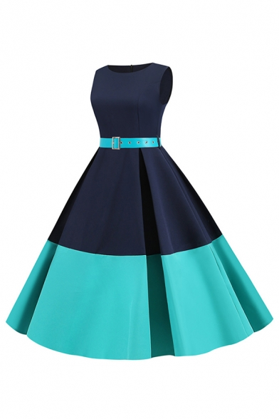 Vintage Women's Sleeveless Round Neck Polka Dot Print Panel Belted Color Block Maxi Pleated Swing Dress for Prom