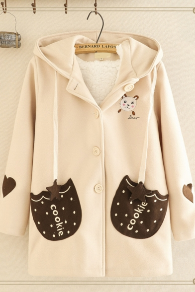Warm Pretty Ladies' Long Sleeve Hooded Drawstring Bear Embroidered Panel Pockets Button Front Sherpa Liner Loose Wool Coat
