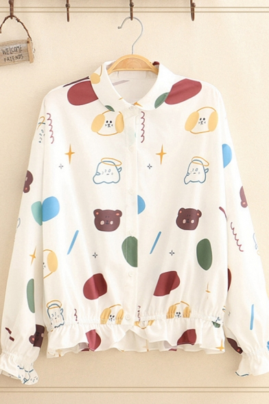 Women's Stylish Long Sleeve Lapel Neck Button Down All Over Cartoon Dog Bear Printed Relaxed Shirt in White