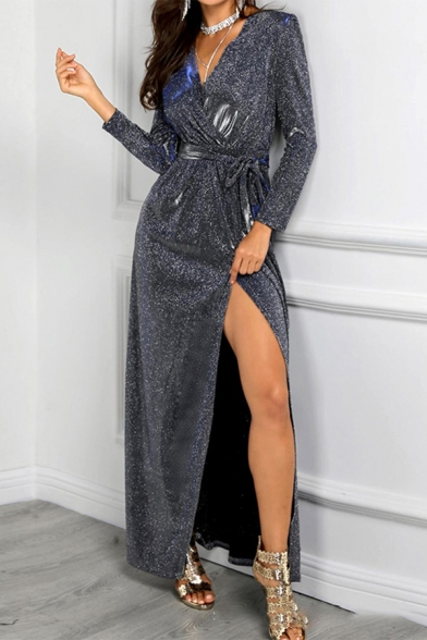 Amazing Pretty Glitter Long Sleeve Surplice Neck Striped Sequined Bow Tie Waist High Cut Maxi Shift Gown Dress in Silver