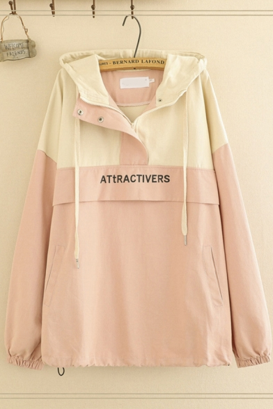 Casual Women's Long Sleve Button Front ATTRACTIVERS Letter Print Colorblock Oversize Jacket