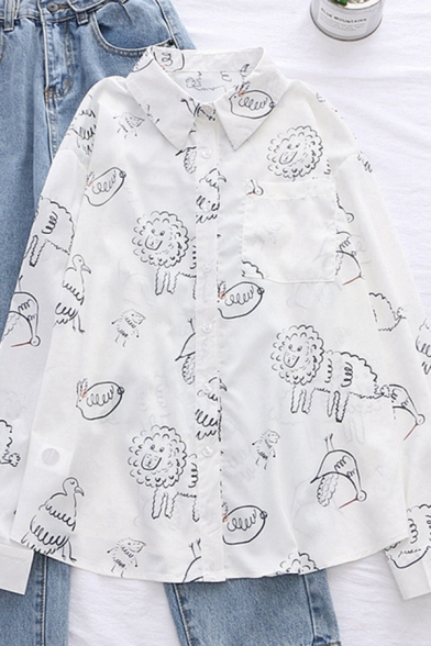 Chic Street Girls Long Sleeve Lapel Neck Button Down All Over Comic Animals Pattern Relaxed Fit Shirt in White