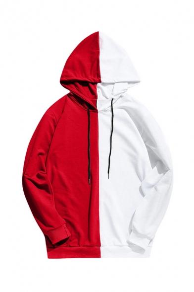 Cool Chic Mens Long Sleeve Drawstring Colorblocked Loose Fit Streetwear Hoodie