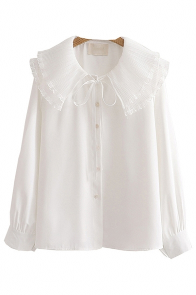 Elegant Girls Long Sleeve Peter Pan Collar Button Down Sheer Mesh Panel Solid Color Relaxed Shirt