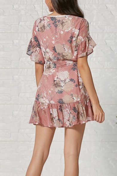 Elegant Ladies' Pink Short Sleeve Round Neck All Over Floral Patterned Bow Tie Waist Ruffle Trim Mini A-Line Dress