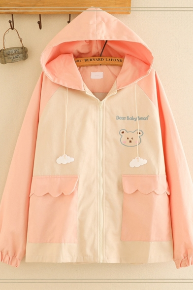Fancy Girls' Long Sleeve Hooded Zipper Front Letter DEER BABY BEAR Graphic Flap Pockets Colorblock Relaxed Jacket