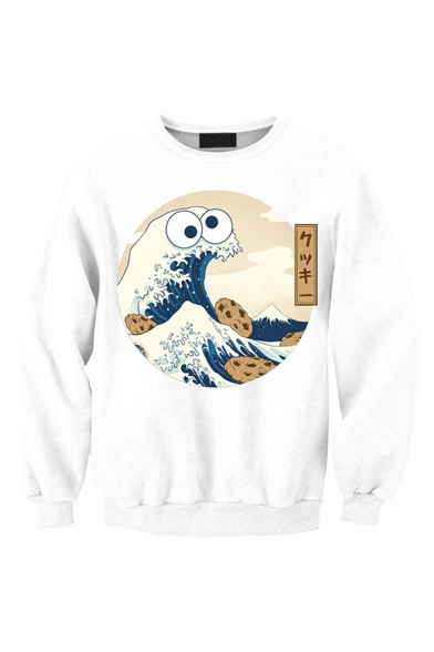 Fashionable Streetwear Long Sleeve Round Neck Funny Wave Graphic Relaxed Fitted Pullover Sweatshirt in White