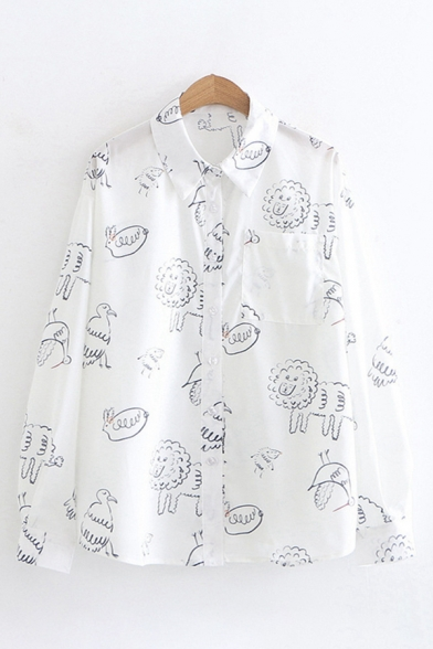 Funny Cute Girls Long Sleeve Lapel Collar Button Down All Over Comic Animal Pattern Loose Shirt in White