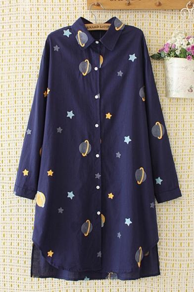 Popular Girls Long Sleeve Lapel Collar Button Down All Over Star Planet Pattern Longline Oversize Shirt