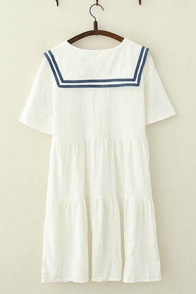 Preppy Girls Short Sleeve Sailor Collar Stripe Pattern Button Up Letter Embroidery Ruffled Midi Swing Dress