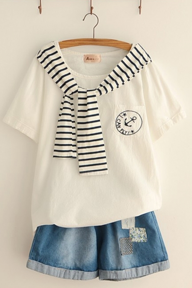 Preppy Looks Short Sleeve Round Neck Striped Tied Front Embroidery Loose Fit T Shirt
