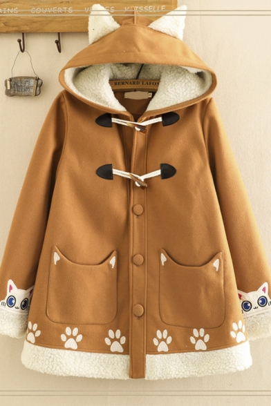 Stylish Women's Long Sleeve Cat Ears Hooded Cat Footprint Embroidery Sherpa Liner Contrasted Loose Wool Duffle Coat in Brown