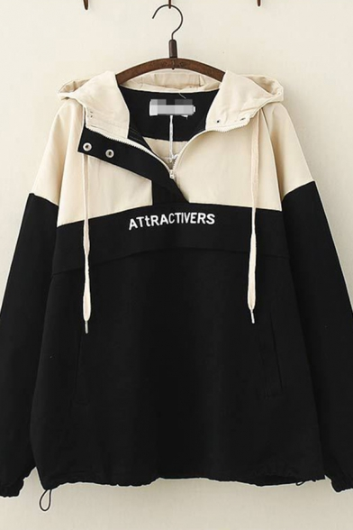 Stylish Womens Long Sleeve Hooded Half Zipper Letter ATTRACTIVERS Print Drawstring Colorblocked Oversize Jacket