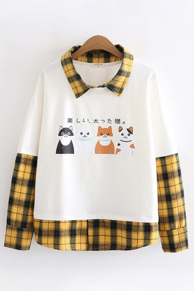 Women's Stylish Long Sleeve Lapel Collar Checkered Patchwork Japanese Cat Print Loose Fit Shirt
