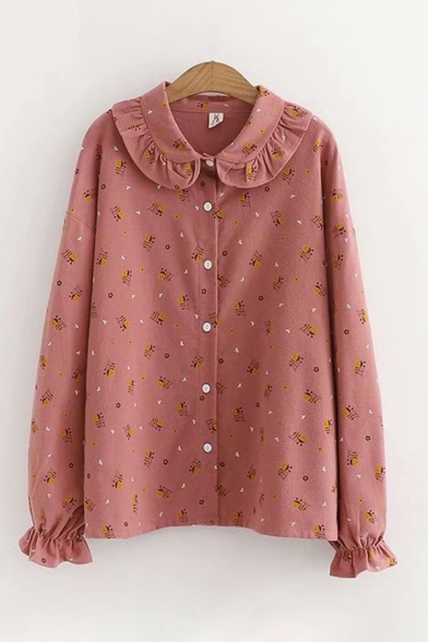 Casual Girls Long Sleeve Peter Pan Collar Button Down All-Over Cartoon Bee Printed Relaxed Fit Shirt