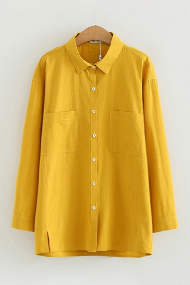 Casual Women's Solid Color Long Sleeve Lapel Neck Button Down Pockets Panel Relaxed Fitted Shirt