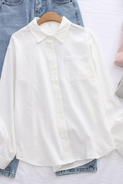 Casual Womens Long Sleeve Lapel Collar Button Down Panel Pocket Solid Color Loose Fit Shirt