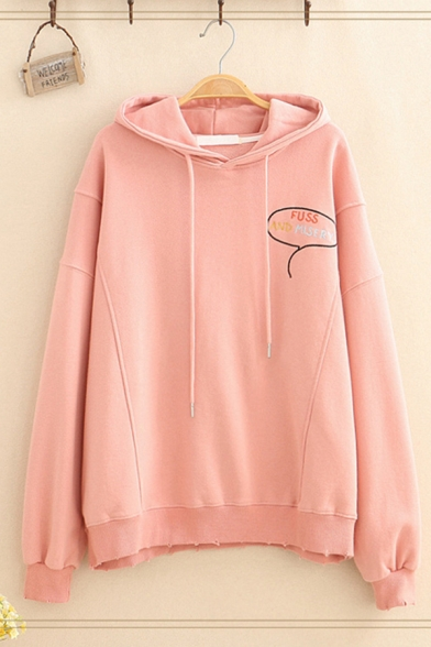 Classic Women's Long Sleeve Drawstring Letter FUSS AND MISERY Comic Pattern Loose Fitted Graphic Hoodie
